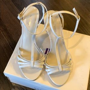 Cream colored wedge sandals